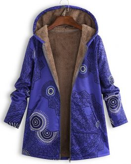 Ethnic Print Fleece Hooded Coat