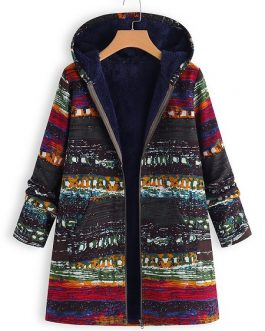 Ethnic Print Hoodded Coat