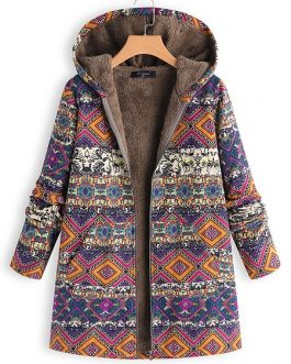 Ethnic Print Hooded Coat