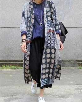 Ethnic Print Long Thin Coat