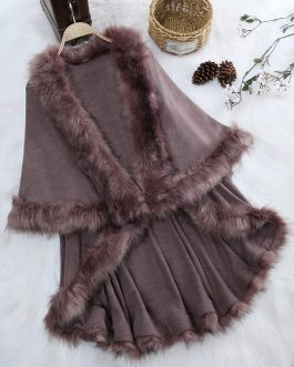 Faux Fur Layered Women Cloak Coats