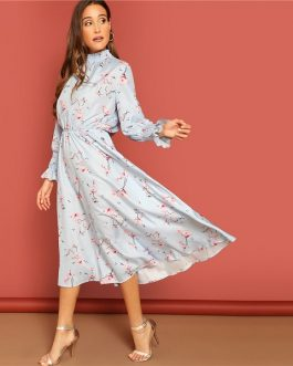Floral Print Spring Autumn Boho Solid Dress