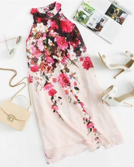 Summer Casual Short Multicolor Floral Sleeveless Shift Dress