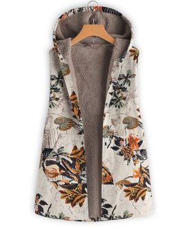 Floral Leaves Print Vest Coat