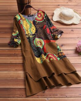 Floral Print Half Sleeve Pocket Dress
