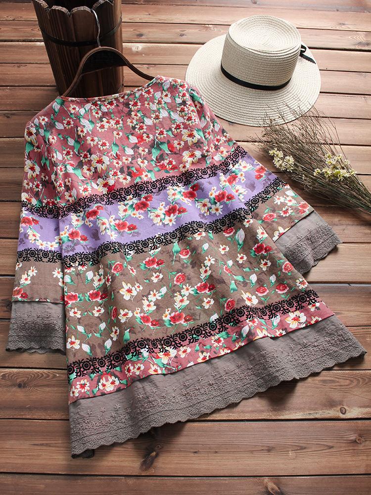 Floral Print Patchwork 3 4 Sleeve Blouse3