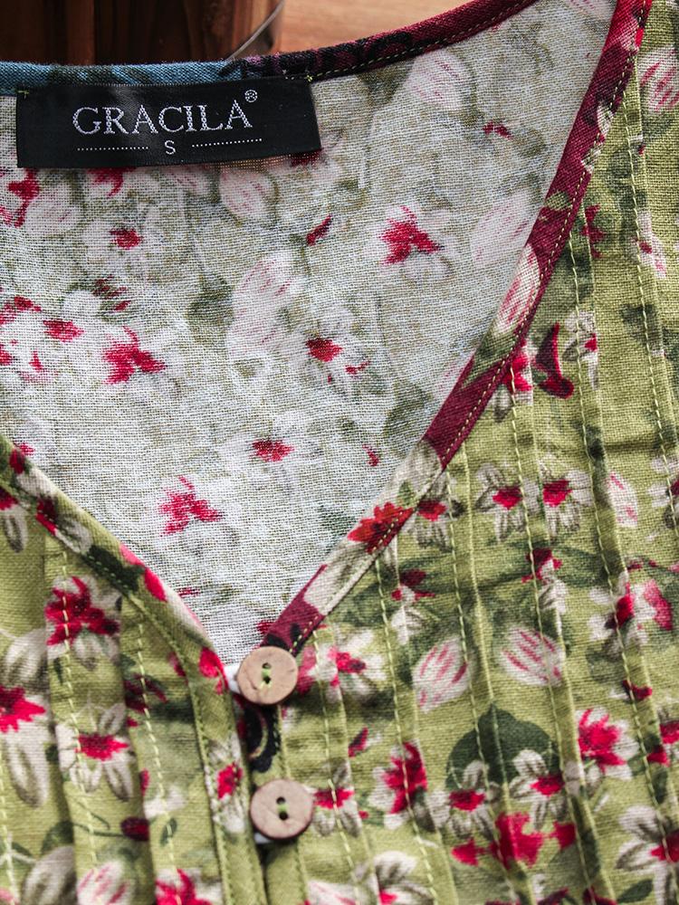 Floral Print Patchwork 3 4 Sleeve Blouse6