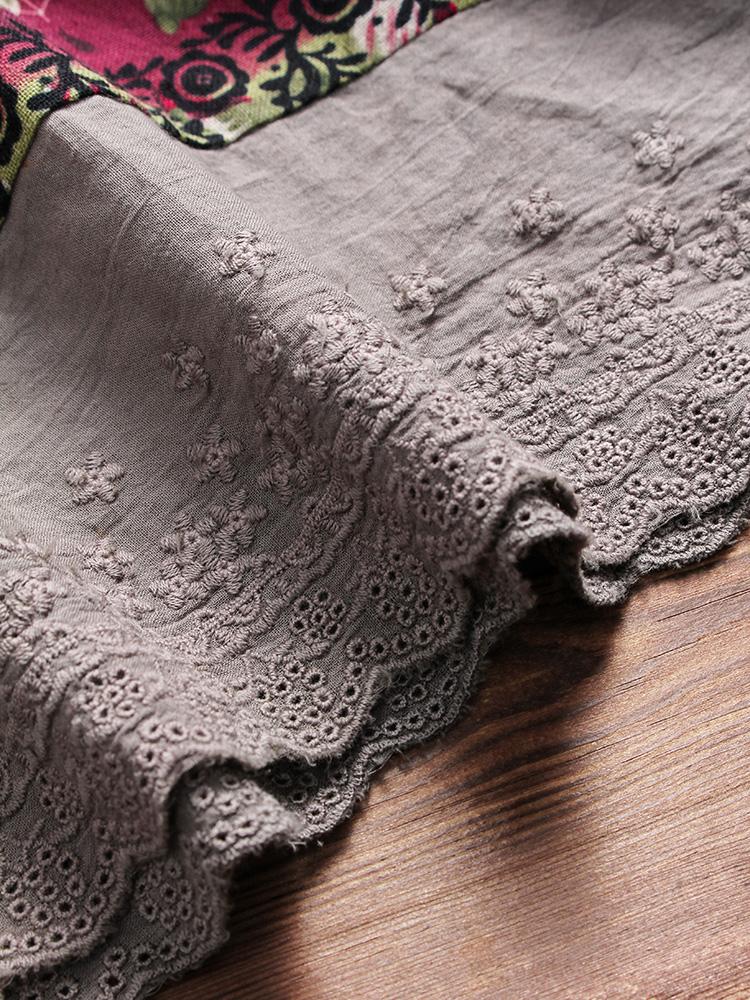 Floral Print Patchwork 3 4 Sleeve Blouse9