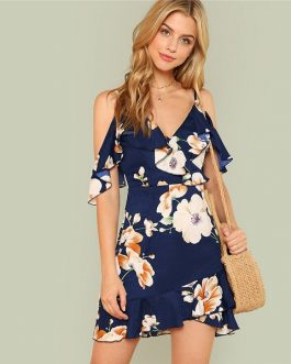 Multicolor Boho Floral Print Summer Women Casual Beach Dress