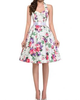 Floral Vintage Flowers Printed Retro Dress
