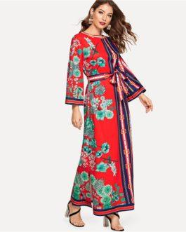 Spring Flounce Sleeve Bohemian Elegant Maxi Dresses