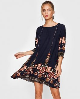 Flower Print Flowy Autumn Boho Casual Fall Dress