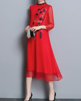 Folk Style Floral Embroidery Silk Dress
