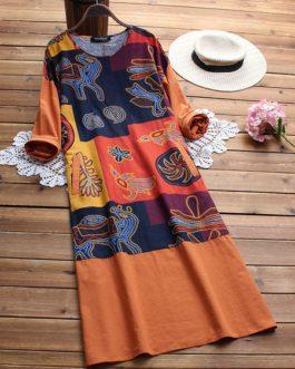 Folk Style Print Patchwork Dresses