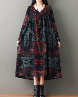Folk Style Print Vintage Dresses
