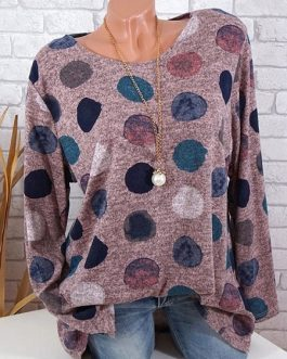 Full Sleeve O-Neck Polka Dots T-shirt