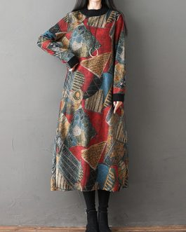 Geometric Print Patchwork Vintage Dress