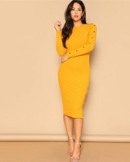 Ginger Office Lady Snap Button Side Rib-knit Fitted Bodycon Pencil Dress