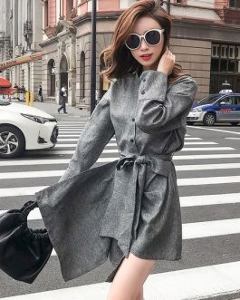 Grey Shirt Dress Stand Collar Pockets Mini Dress