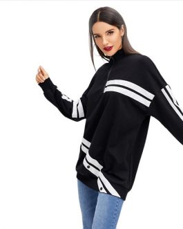 Striped Long Sweatshirt Autumn Casual Campus Women Sweatshirts