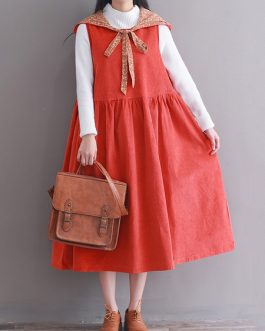 Hooded Women Corduroy Vintage Dress