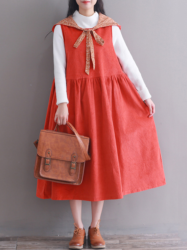 Hooded Women Corduroy Vintage Dress