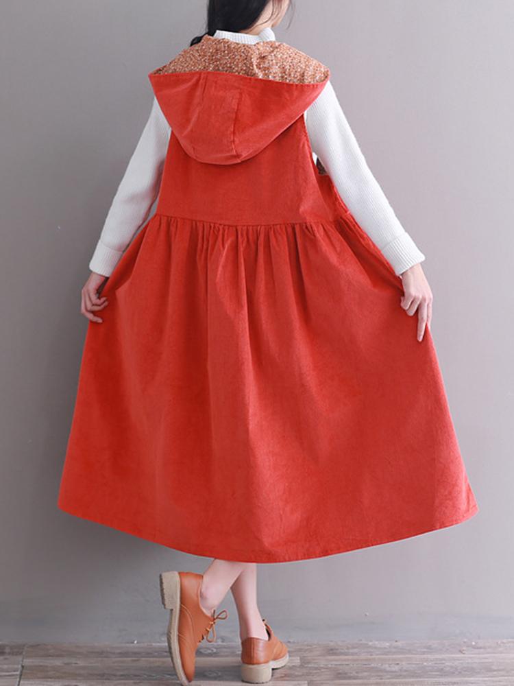 Hooded Women Corduroy Vintage Dress1