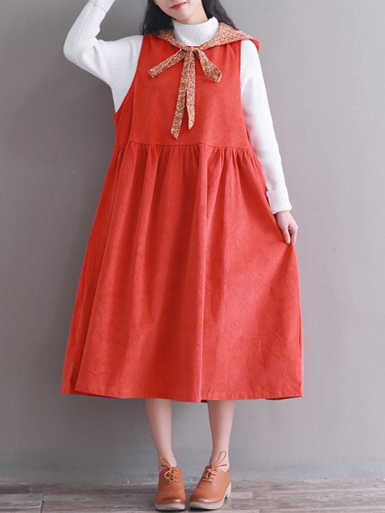 Hooded Women Corduroy Vintage Dress2