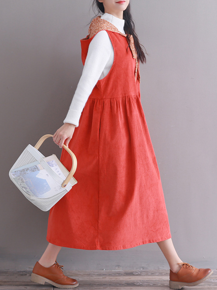 Hooded Women Corduroy Vintage Dress3