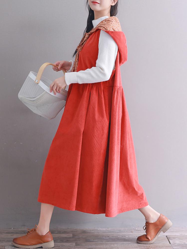 Hooded Women Corduroy Vintage Dress4