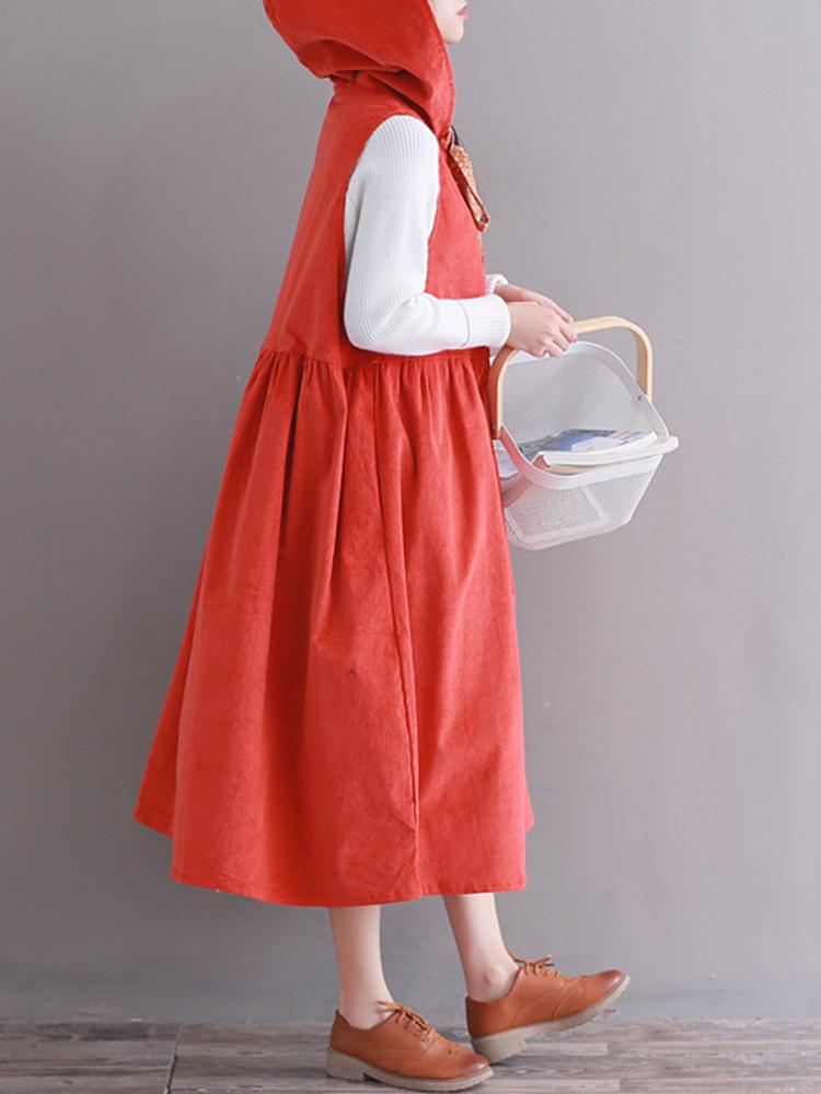 Hooded Women Corduroy Vintage Dress5