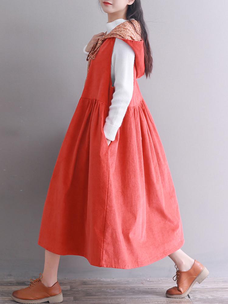 Hooded Women Corduroy Vintage Dress6