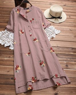 Irregular Embroidered Vintage Dresses