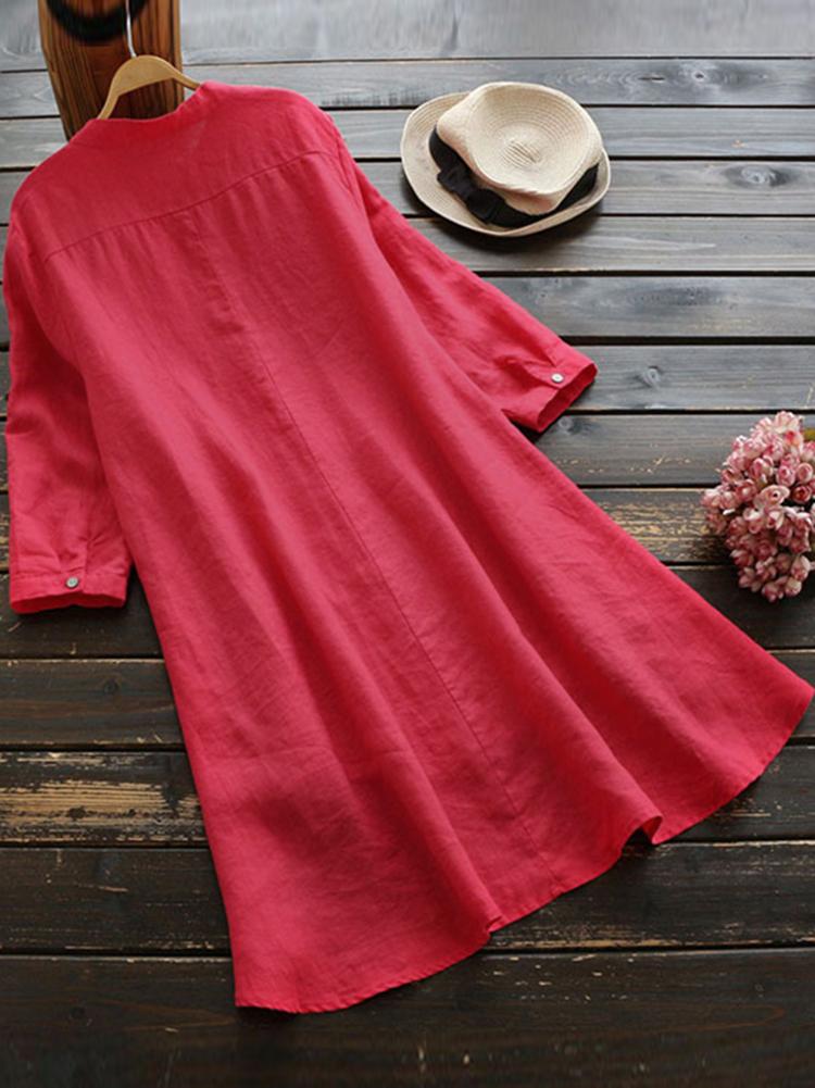 Irregular Hem Long Sleeve Button Blouse1