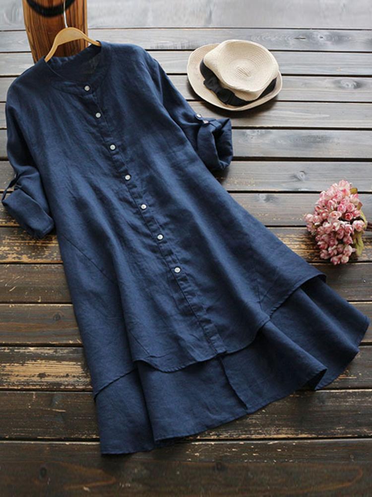 Irregular Hem Long Sleeve Button Blouse2