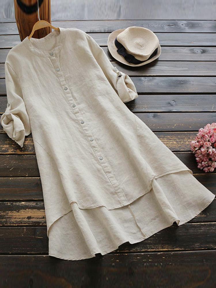Irregular Hem Long Sleeve Button Blouse4