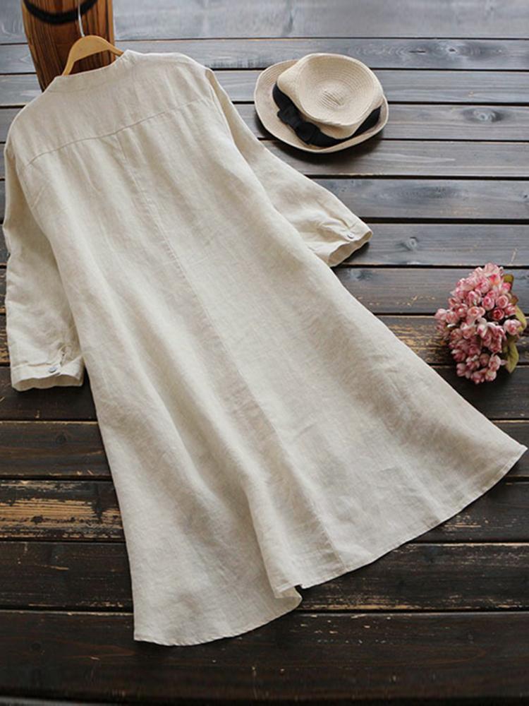 Irregular Hem Long Sleeve Button Blouse5