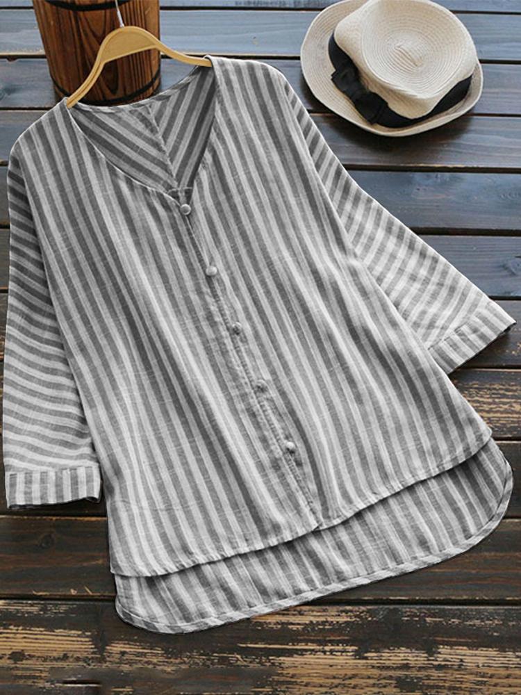 Irregular Loose Stripe V Neck Blouse