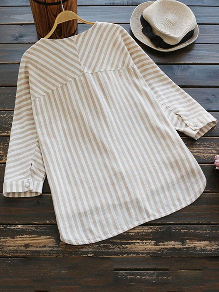 Irregular Loose Stripe V Neck Blouse3