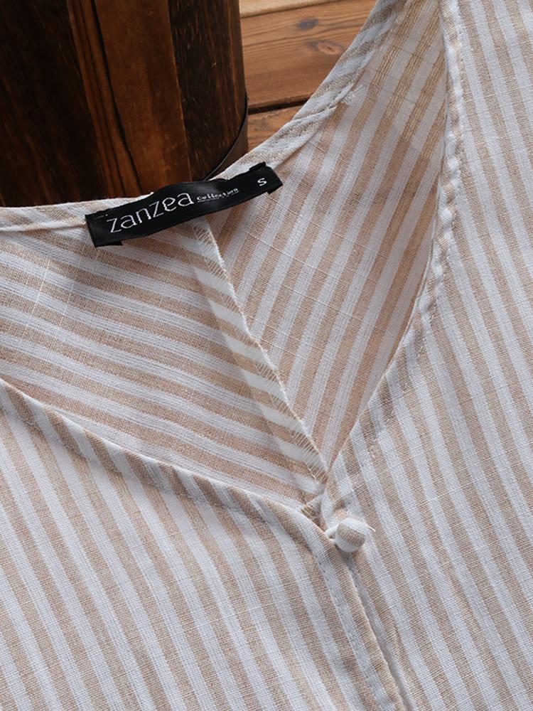 Irregular Loose Stripe V Neck Blouse4