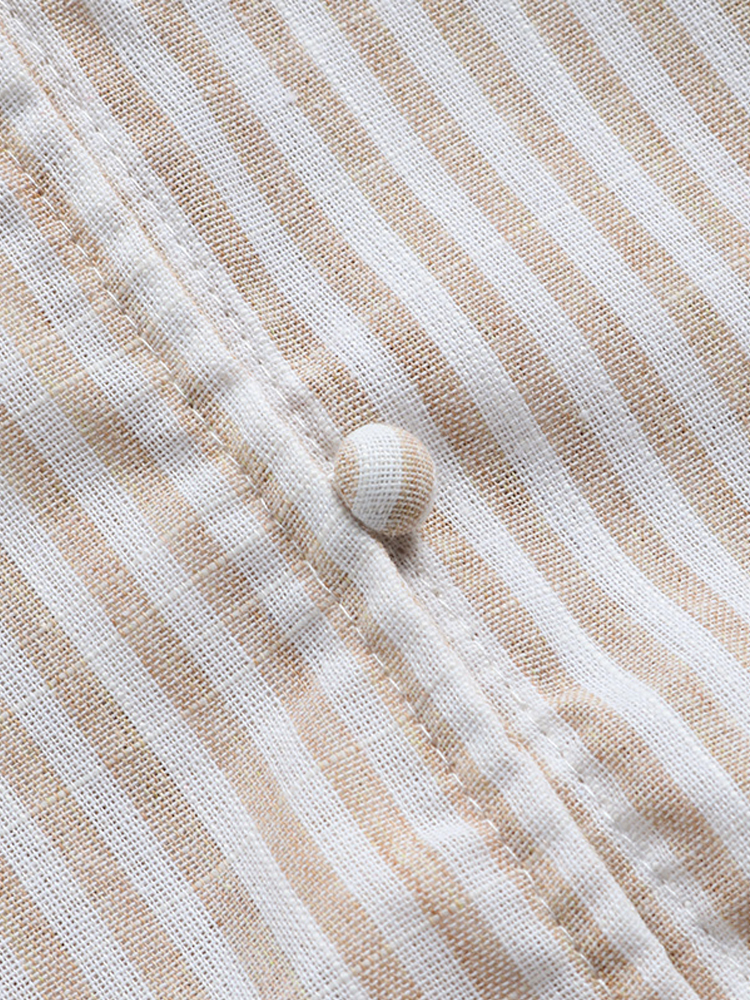 Irregular Loose Stripe V Neck Blouse5