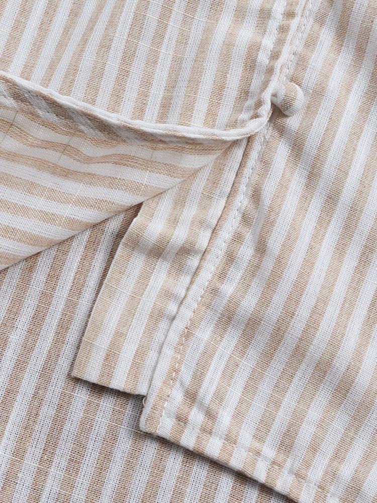 Irregular Loose Stripe V Neck Blouse6