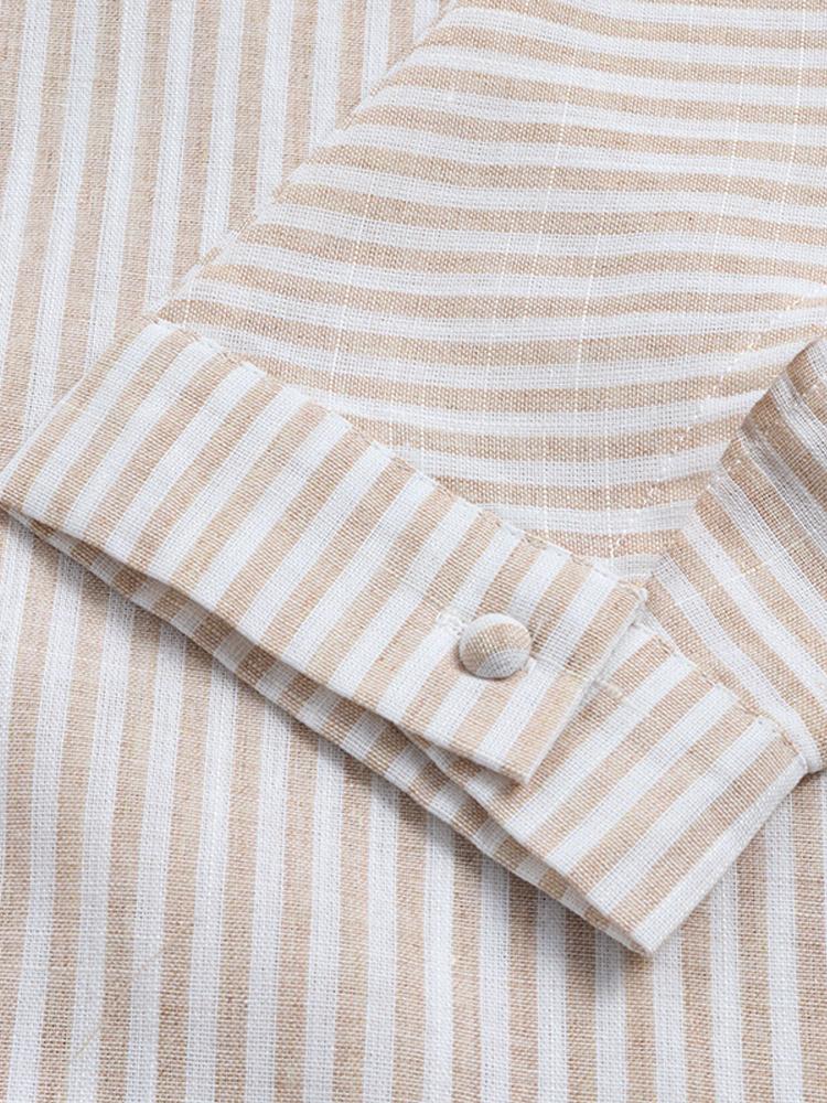 Irregular Loose Stripe V Neck Blouse7