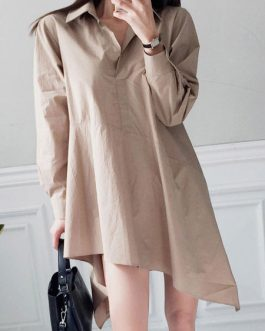Irregular Shirt Dress Tie Waist Mini Dress