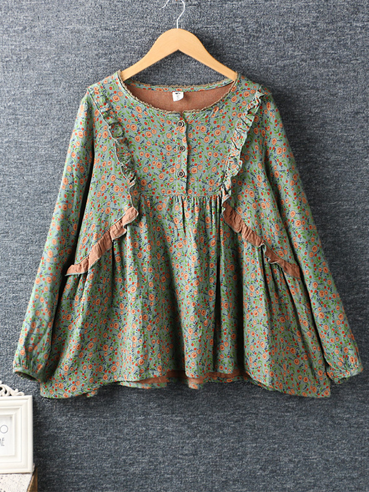 Lace Patchwork Long Sleeve Blouse 2