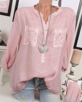 Lace Patchwork Long Sleeve Blouse