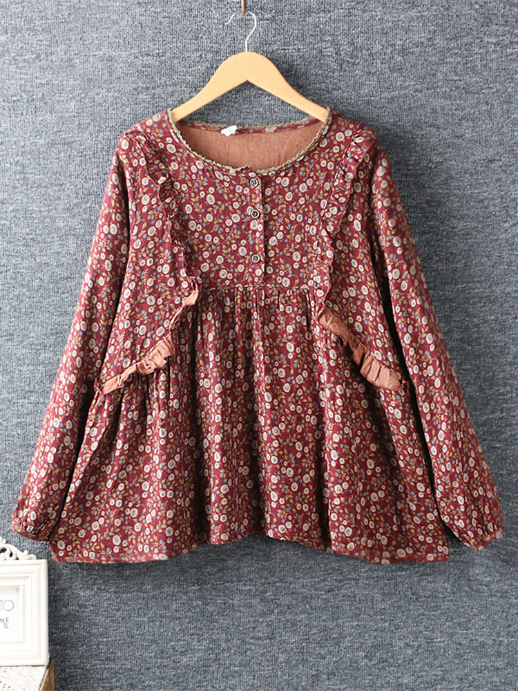 Lace Patchwork Long Sleeve Blouse1 2