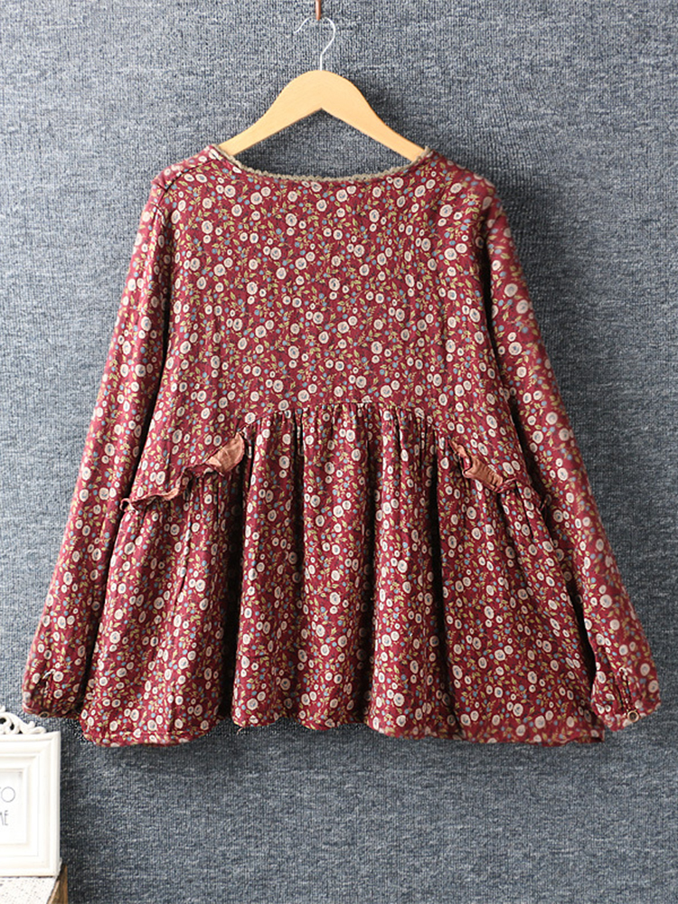 Lace Patchwork Long Sleeve Blouse2 2