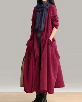 Lace Up Pocket Maxi Coats