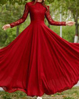 Lace chiffon maxi prom dresses